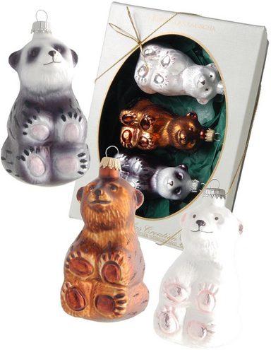 Krebs Glas Lauscha Christbaumschmuck »Eisbär, Braunbär und Panda« (3-tlg), mundgeblasen