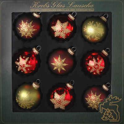 Krebs Glas Lauscha Weihnachtsbaumkugel »Schneeflocken« (9 Stück), mundgeblasen, rot/grün