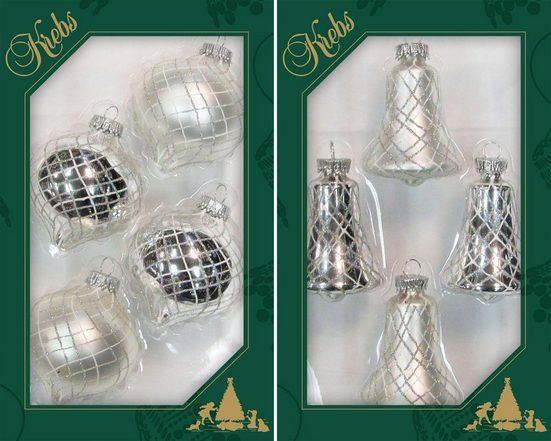 Krebs Glas Lauscha Christbaumschmuck »Glocken und Tropfen« (8-tlg), handdekoriert