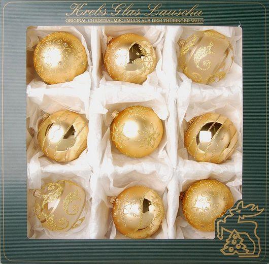 Krebs Glas Lauscha Weihnachtsbaumkugel (9 Stück), mundgeblasen, goldfarben, mit Dekor, Ø 8 cm