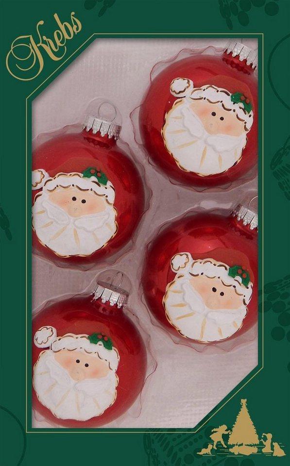 Otto Christbaumkugeln.Krebs Glas Lauscha Weihnachtsbaumkugel Weihnachtsmann Kopf 4 Stück Handdekoriert Online Kaufen Otto