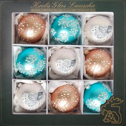 Krebs Glas Lauscha Weihnachtsbaumkugel »Winter Dream« (9 Stück), mundgeblasen