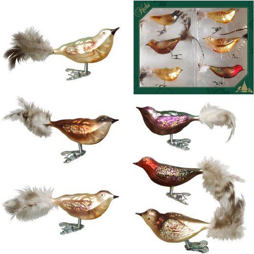 Krebs Glas Lauscha Weihnachtsbaumklammer »Waldvögel« (6-tlg), mundgeblasen