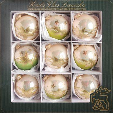 Krebs Glas Lauscha Weihnachtsbaumkugel »Blumen« (9 Stück), mundgeblasen