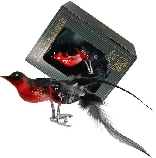 Krebs Glas Lauscha Weihnachtsbaumklammer »Dompfaff« (1-tlg), Doppelvogel, mundgeblasen