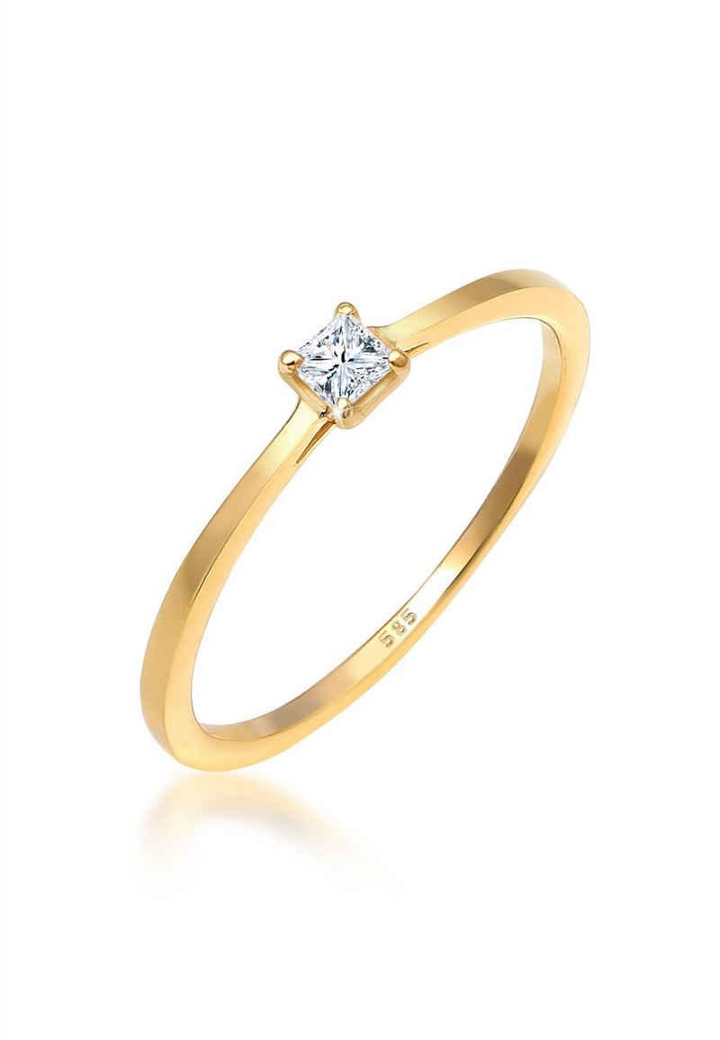 Diamore Verlobungsring »Prinzessschliff Diamant (0.1 ct) 585 Gelbgold«