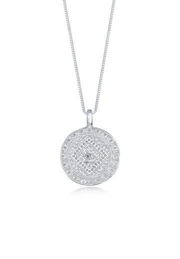 Elli Collierkettchen »Münze Plättchen Vintage Look Ornament 925 Silber«