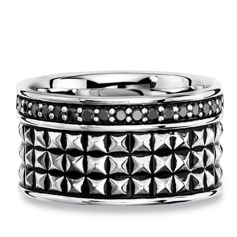 CAÏ Ring »925/- Sterling Silber Spinell schwarz«
