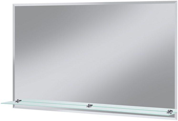 Badspiegel »Flex«, 100 x 60 cm, mit Glasablage und Facettenschliff