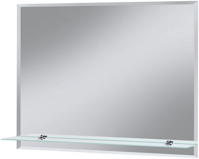Badspiegel »Flex«, 80 x 60 cm, mit Glasablage und Facettenschliff