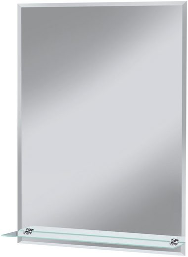 Badspiegel »Flex«, 60 x 80 cm, mit Glasablage und Facettenschliff