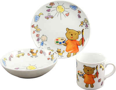 CreaTable Kindergeschirr-Set »Teddy« (3-tlg), Porzellan