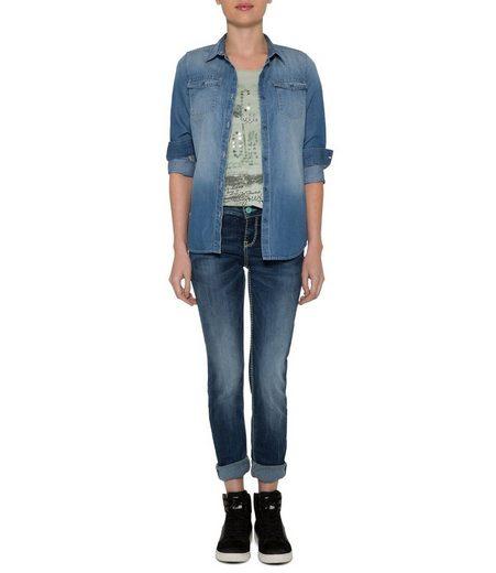 SOCCX Slim-fit-Jeans mit Kontrast-Steppungen
