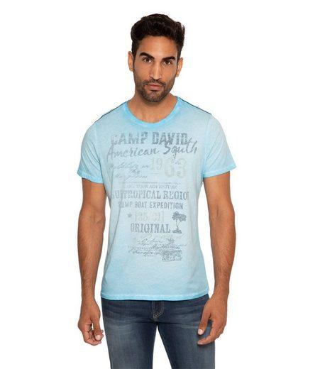 CAMP DAVID T-Shirt mit Kontrastnähten