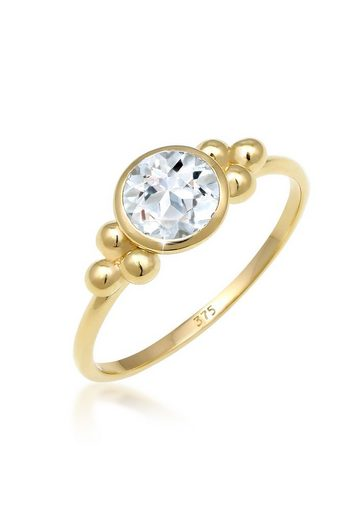 Elli Fingerring »Verlobungsring Kugeln Topas Edelstein 375 Gelbgold«