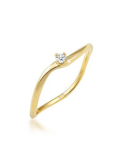 Diamore Diamantring »Verlobung Welle Diamant (0.03 ct) 375 Gelbgold«