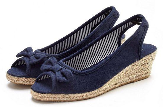 LASCANA Sandalette aus Textil mit Keilabsatz