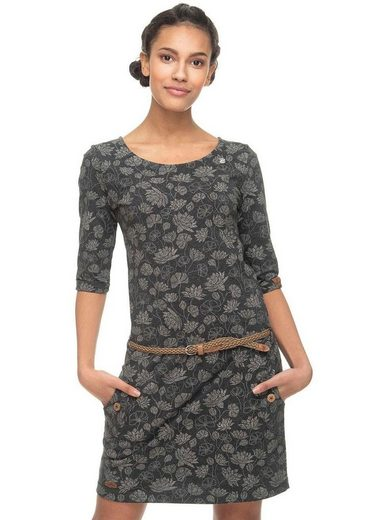 Ragwear Jerseykleid »TANYA FLOWERS« (2-tlg., mit Gürtel in Lederoptik) mit multicolor Flower-Print inklusive Flechtgürtel