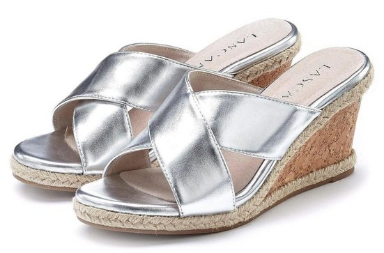 LASCANA High-Heel-Pantolette mit Keilabsatz in Metallic-Optik