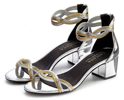 LASCANA Sandalette mit Blockabsatz in Metallic Optik