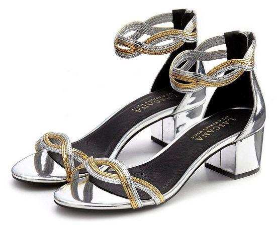 LASCANA Sandalette mit Blockabsatz in Metallic-Optik