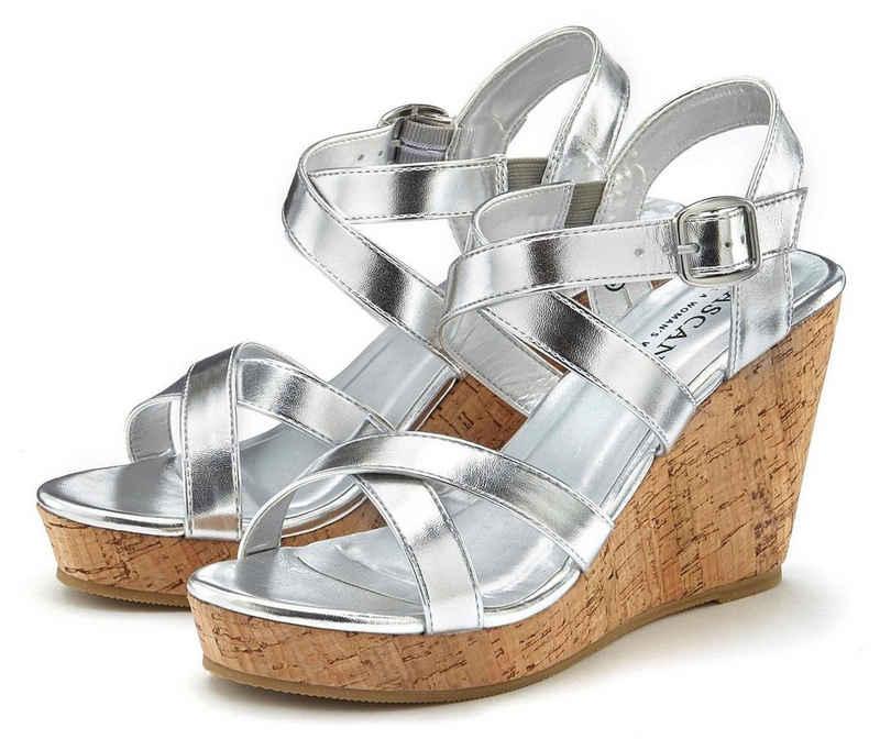 LASCANA High-Heel-Sandalette mit Keilabsatz im Kork-Look