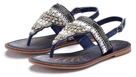 LASCANA Zehentrenner aus Leder mit modischen Perlen und Steinchen