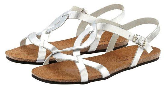 LASCANA Sandale in Metallic-Optik aus Leder