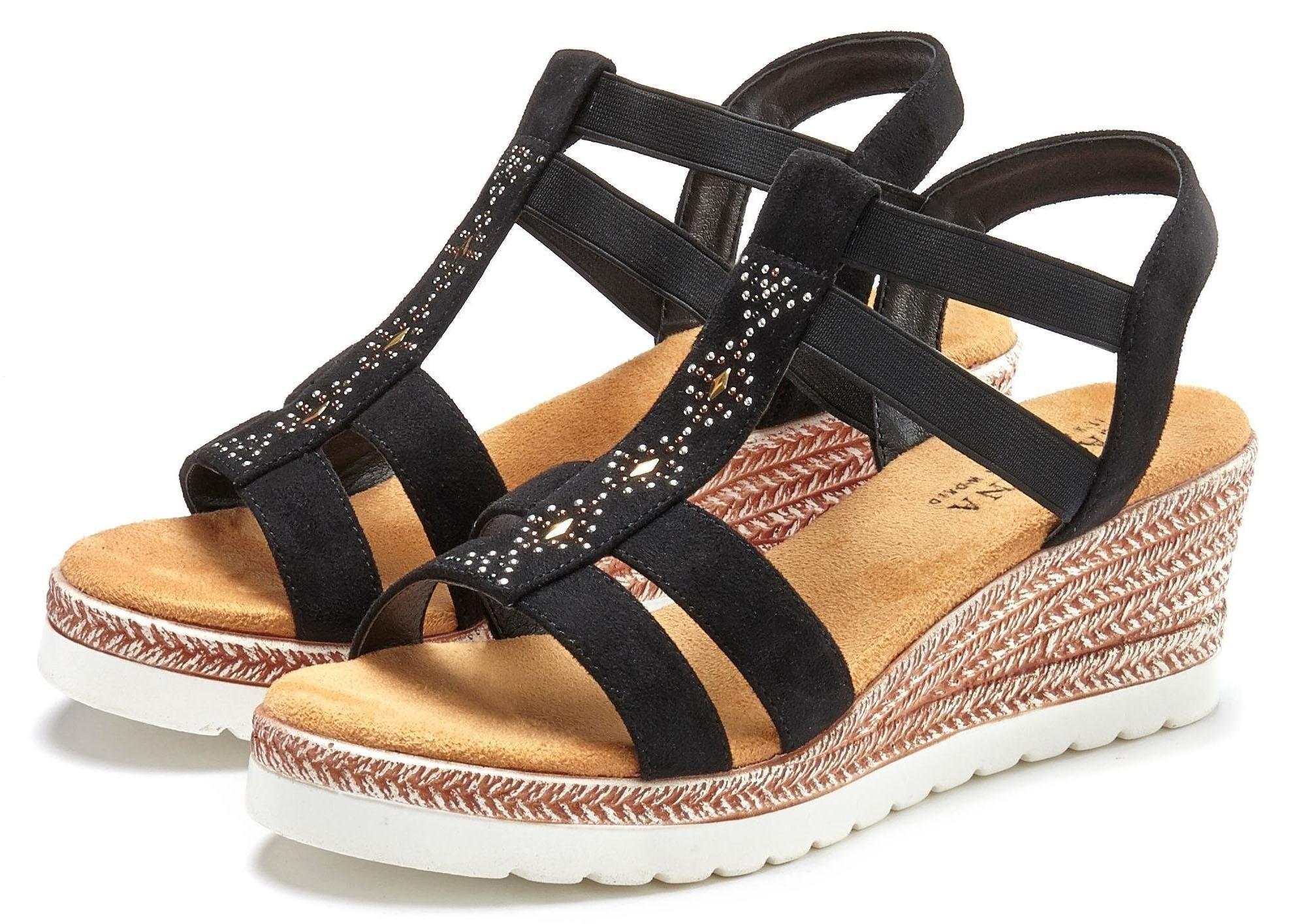 LASCANA Sandalette mit Keilabsatz und dekorativen Pailletten