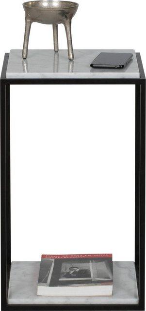 TemaHome Nachttisch »Forrest«| mit 2 Marquina Marmorplatten & Metallgestell schwarz| Breite 30 cm | Schlafzimmer > Nachttische | Weiß | TemaHome