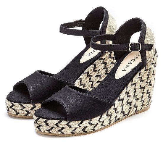 LASCANA High-Heel-Sandalette mit Keilabsatz im Ethno-Look