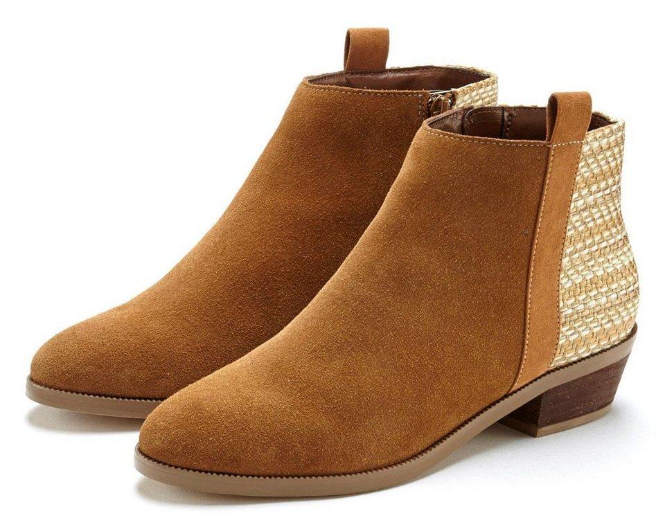 lascana stiefelette aus leder mit farblich abgesetztem einsatz online kaufen otto  kaufen sie echtes tom tailor sandalette mit keilabsatz beige braun damen rabatt schuhe online ausverkauf p 1361 #14