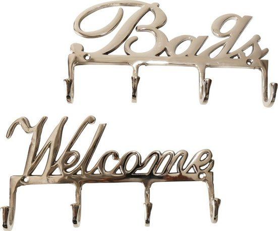 Home affaire Wandhaken »Bags und Welcome«, aus Aluminium