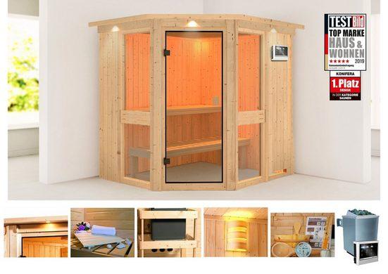 KONIFERA Sauna »Metta 1«, 210x184x202 cm, 9 kW Ofen mit ext. Steuerung, mit Dachkranz