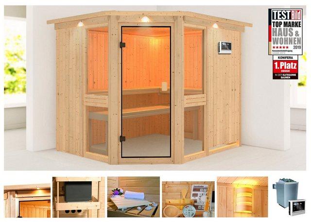 KONIFERA Sauna »Metta 3«, 245x210x202 cm, 9 kW Ofen mit ext. Steuerung, mit Dachkranz | Bad > Sauna & Zubehör > Saunen | KONIFERA