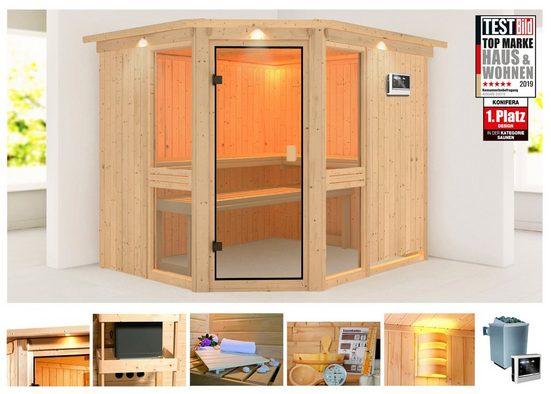 KONIFERA Sauna »Metta 3«, 245x210x202 cm, 9 kW Ofen mit ext. Steuerung, mit Dachkranz