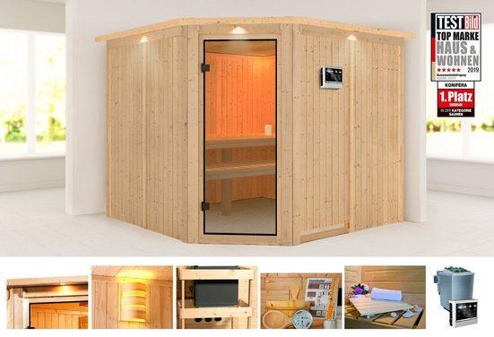 KONIFERA Sauna »Evka«, 245x245x202 cm, 9 kW Bio-Ofen mit ext. Strg., mit Dachkranz