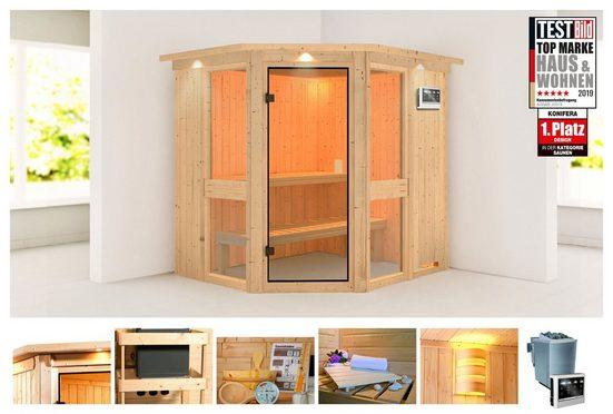 KONIFERA Sauna »Metta 1«, 210x184x202 cm, 9 kW Bio-Ofen mit ext. Strg., mit Dachkranz
