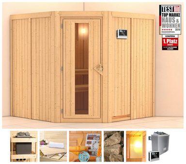 KONIFERA Sauna »Eero«, 196/196/198 cm, 9-kW-Ofen mit ext. Steuerung, Holztür