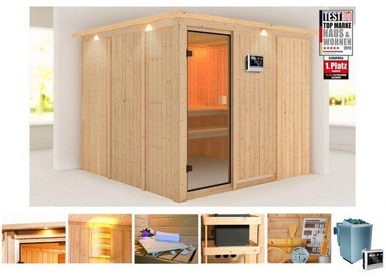 KONIFERA Sauna »Ferun«, 231/231/198 cm, 9-KW-Bio-Ofen mit ext. Steuerung