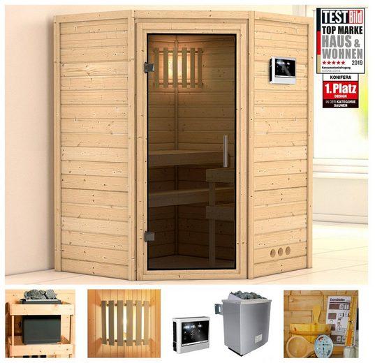 KONIFERA Sauna »Helvi«, 144x144x200 cm, 9 kW Ofen mit ext. Strg., Glastür graphit