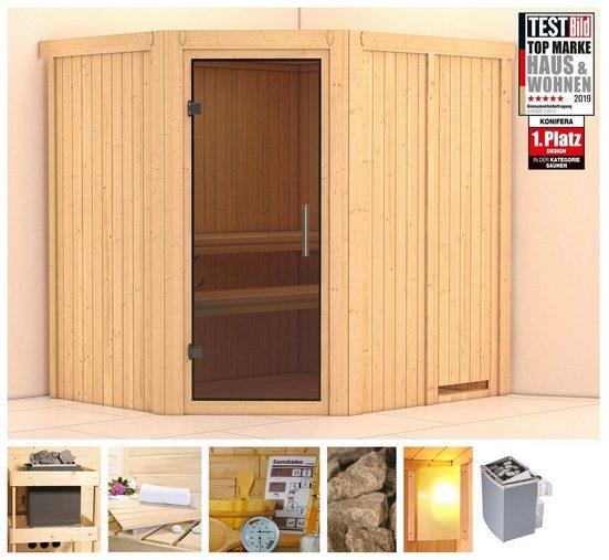 KONIFERA Sauna »Esther«, 196x170x198 cm, 9 kW Ofen mit int. Strg., Glastür graphit