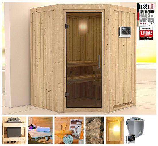 KONIFERA Sauna »Ilja«, 151x151x198 cm, 9 kW Bio-Ofen mit ext. Strg, Glastür graphit