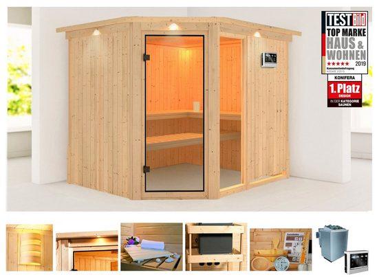 KONIFERA Sauna »Antero 3«, 245x210x202 cm, 9 kW Bio-Ofen mit ext. Strg., mit Dachkranz