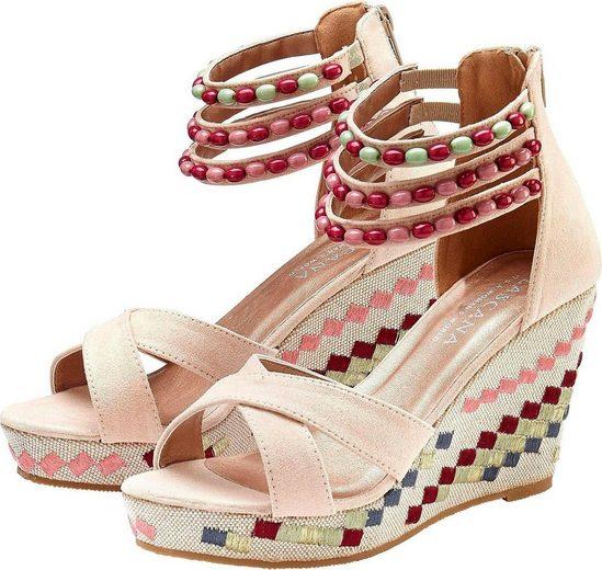 LASCANA Sandalette mit verziertem Keilabsatz
