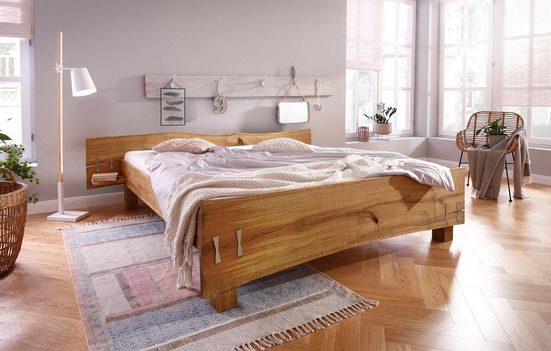 Premium collection by Home affaire Bett »Slabs« (aus massiver Eiche mit integrierten Nachttischen)