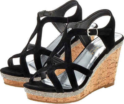 Damen Plateau Sandaletten Metallic Sandalen Korkoptik Sommerschuhe 833822 Schuhe