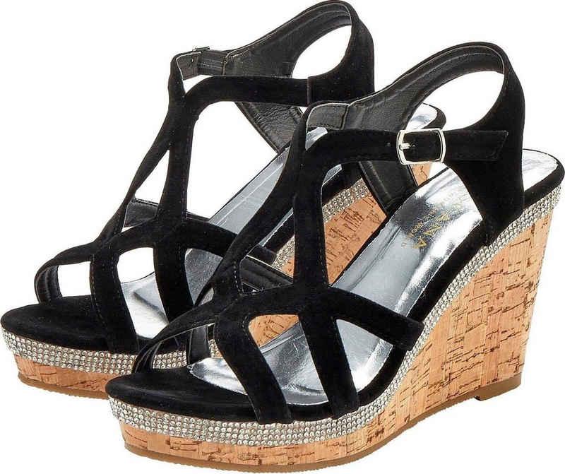 LASCANA High-Heel-Sandalette mit Keilabsatz und Strasssteinen