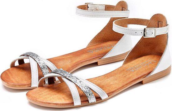 LASCANA Sandale aus Leder mit Glitzer-Riemchen