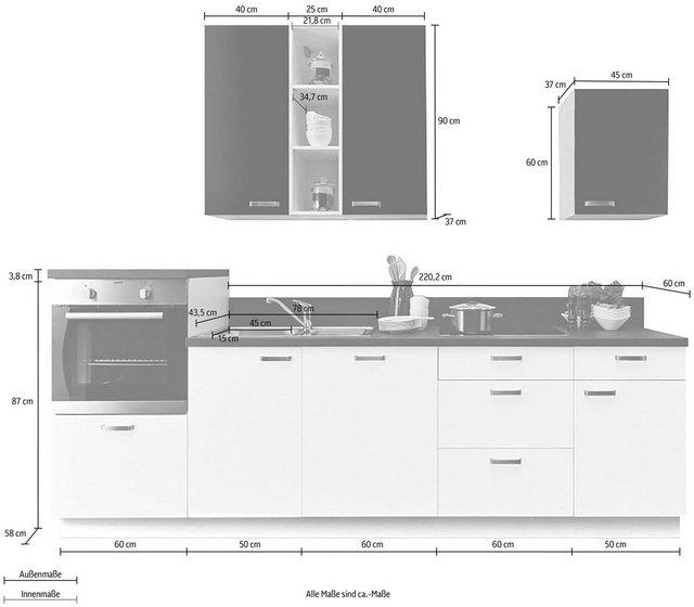 Einbauküchen - Express Küchen Küchenzeile »Bari«, ohne E Geräte, Breite 280 cm  - Onlineshop OTTO